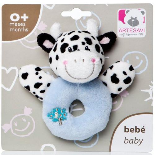 Plus Bebe Vacuta 12 cm cu Inel de Dentitie si Zornaitoare