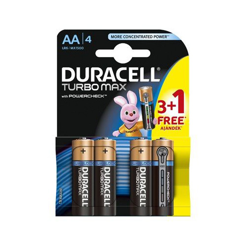 Duracell Set 4 Baterii Tip AA Turbo Max Power Check