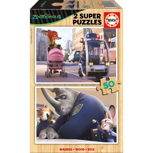 Super Puzzle din Lemn Zootropolis 2 x 50 piese