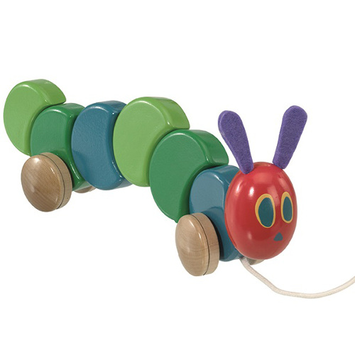 The Very Hungry Caterpillar - Jucarie din Lemn cu Roti 26cm