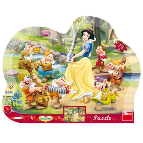 Puzzle cu Rama Alba ca Zapada si cei 7 Pitici 25 Piese