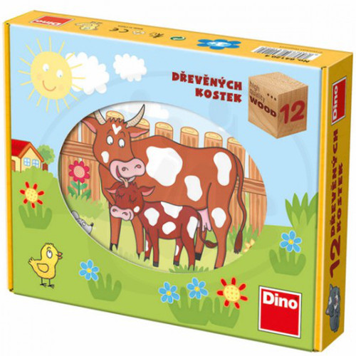 Puzzle Cubic Animale Domestice 12 Piese