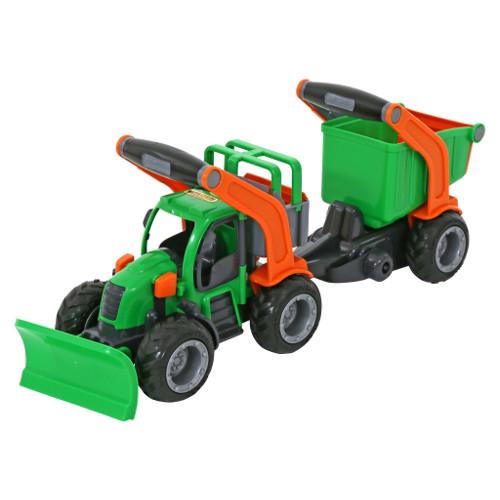 Wader Tractor cu Plug de Zapada si Remorca cu Container