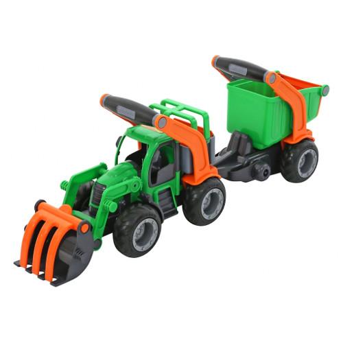 Wader Tractor cu Buldozer si Remorca cu Container