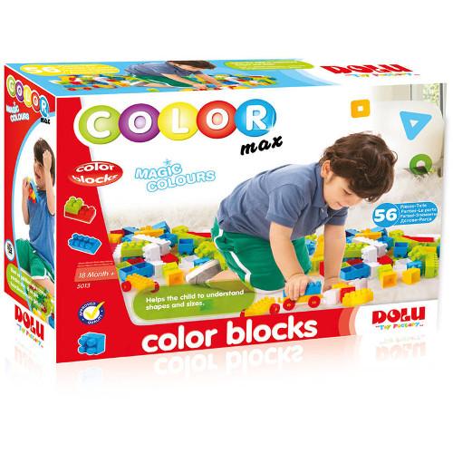 Cuburi Colorate de Construit 56 Piese