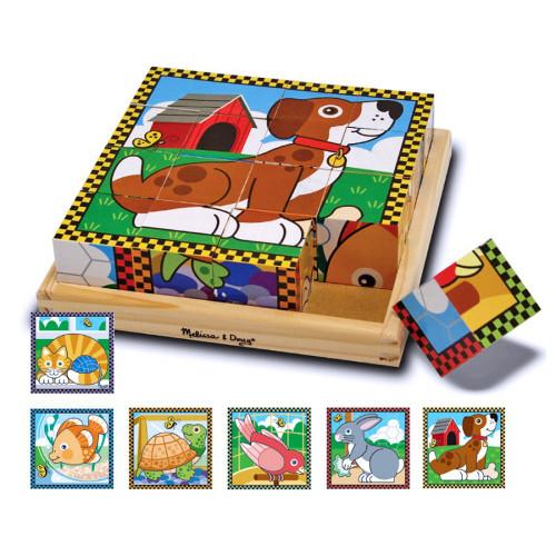 Puzzle Lemn din Cuburi Animalele de Casa