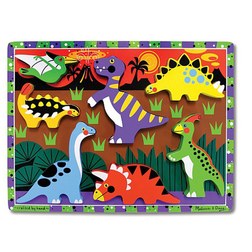 Melissa and Doug Puzzle Lemn in Relief Dinozauri