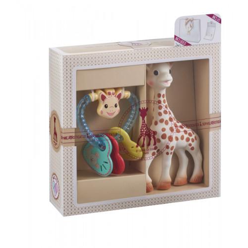 Set pentru Dentitie Girafa Sophie cu Zornaitoare Inimioare