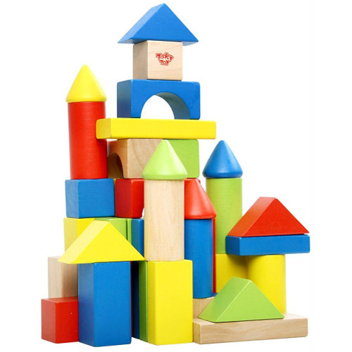 Tooky Toy Cuburi din Lemn 50 Bucati in Galeata