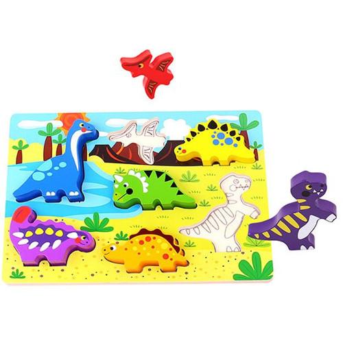 Tooky Toy Puzzle din Lemn Potriveste Dinozaurii