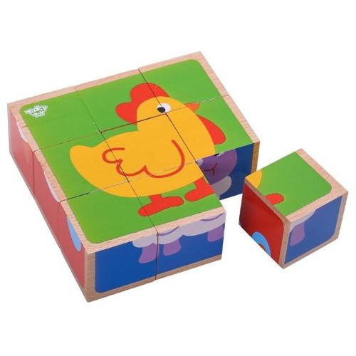 Tooky Toy Puzzle Cuburi Animale de la Ferma