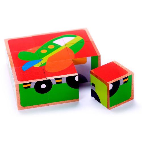 Tooky Toy Puzzle Cuburi Mijloace de Transport