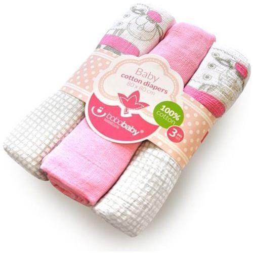 Scutece Textile pentru Bebelusi 3 Bucati Roz cu Oita