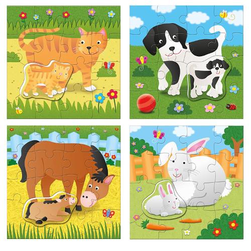 Galt Set 4 Puzzle-uri Mama si Puiul – Animale Domestice