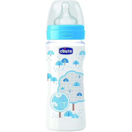 Chicco Biberon WellBeing PP Boy cu Tetina Silicon 330 ml