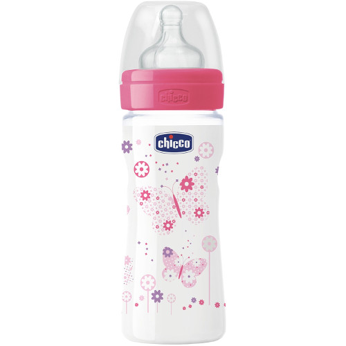 Chicco Biberon WellBeing PP Girl cu Tetina Silicon 250 ml