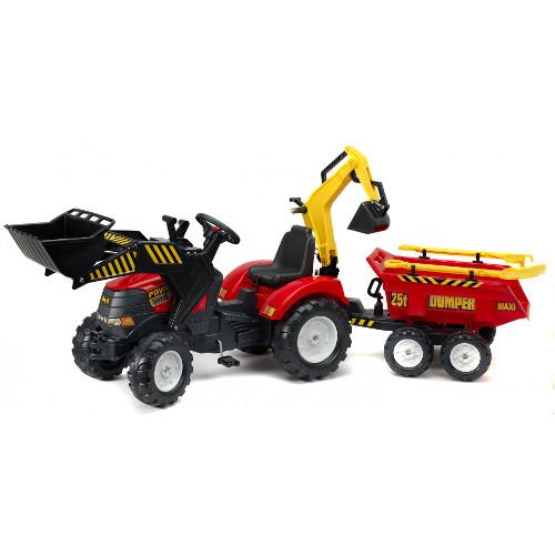Tractor Powerloader Rosu cu Cupa Functionala, Excavator, Remorca, Grebla si Lopata