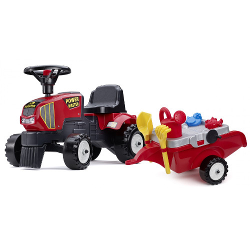 Tractoras Baby Power Master cu Remorca, Forme Nisip, Lopata, Grebla si Stropitoare