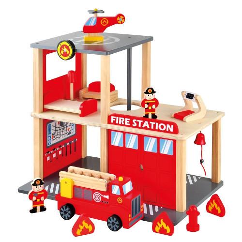 Bino Set Statie Pompieri cu Masinuta si Elicopter