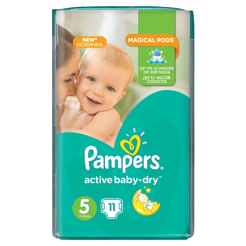 Scutece Active Baby-Dry, Marimea 5, 11 buc, 11 - 18 kg
