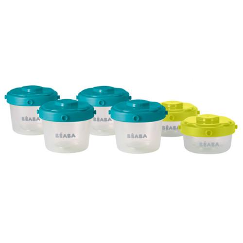 Set 6 Recipiente pentru Hrana 2x60 ml 4x120 ml Turcoaz Verde