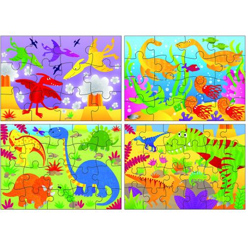 Galt Set 4 Puzzle-uri Dinozauri, 12, 16, 20, 24 piese
