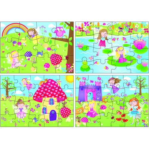 Galt Set 4 Puzzle-uri Zane, 12, 16, 20, 24 piese