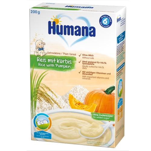Humana Cereale Humana fara Lapte cu Fulgi Orez si Dovleac 6 luni+, 200g