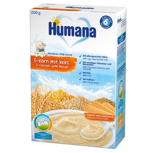Humana Cereale Humana cu 5 Cereale si Biscuiti 6 luni+, 200g