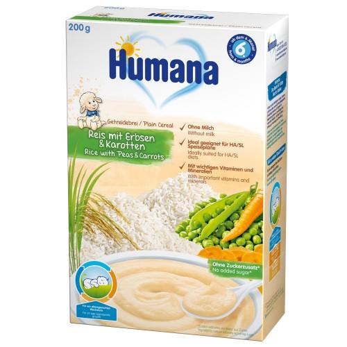 Humana Cereale Humana fara Lapte cu Morcov si Mazare 6 luni+, 200g