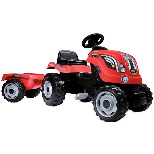 Smoby Tractor cu Pedale si Remorca Farmer XL Rosu