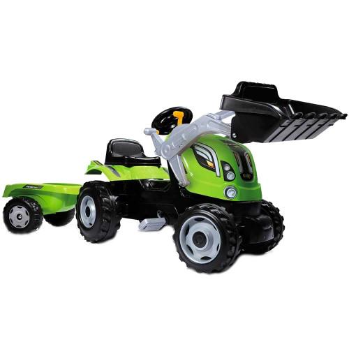Smoby Tractor cu Pedale si Remorca Farmer Max Verde