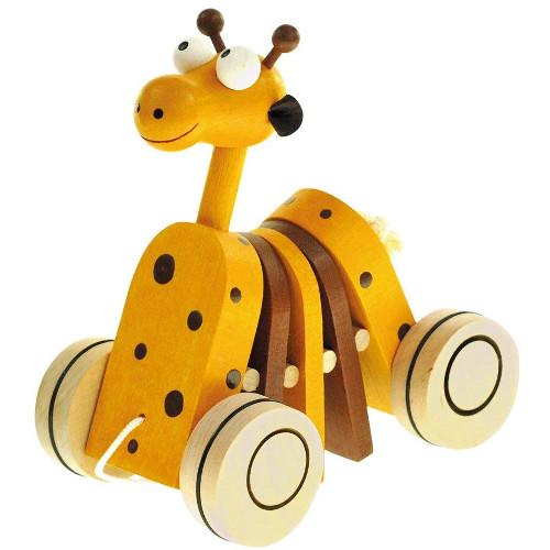 Bino Jucarie de Tras din Lemn Girafa