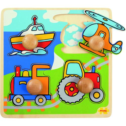 BigJigs Toys Primul Meu Puzzle – 4 Mijloace de Transport