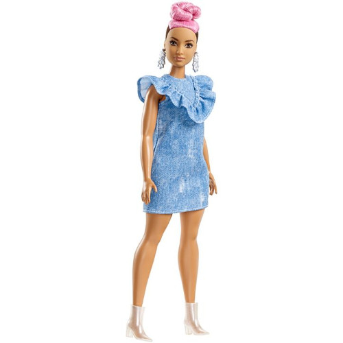Papusa Barbie Fashionista Plinuta in Rochita cu Volane din Denim thumbnail