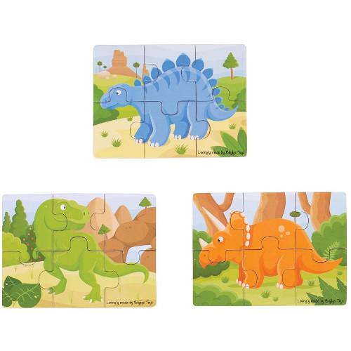BigJigs Toys Set 3 Puzzle din Lemn – Dinozauri