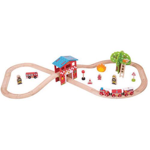 BigJigs Toys Set cu Trenuletul Pompierilor