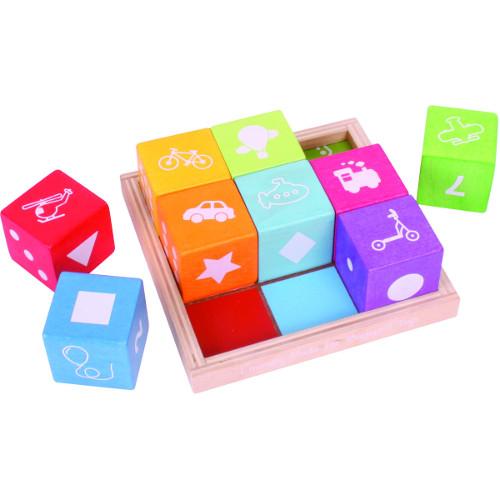 BigJigs Toys Cuburi din Lemn cu Imagini