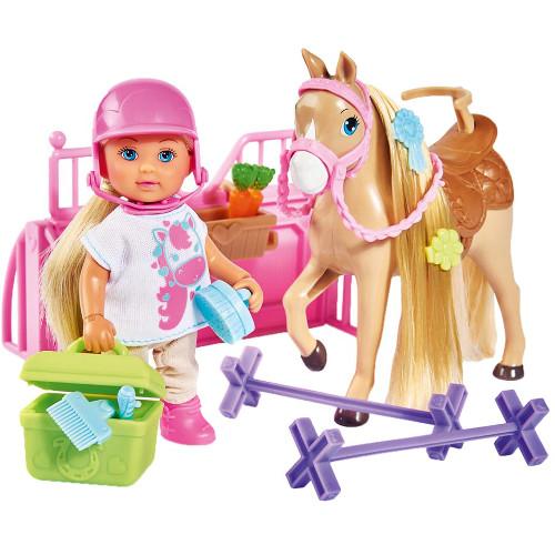 Papusa Evi Love 12 cm Holiday Horse cu Calut si Accesorii