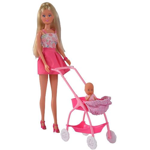 Papusa Steffi Love Baby Walk 29 cm Roz cu Carucior si Accesorii