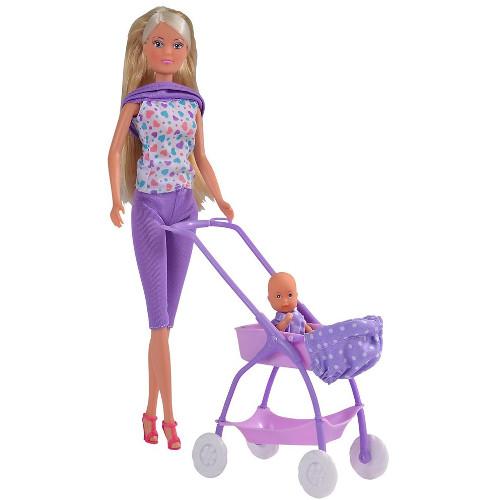 Papusa Steffi Love Baby Walk 29 cm Mov cu Carucior si Accesorii