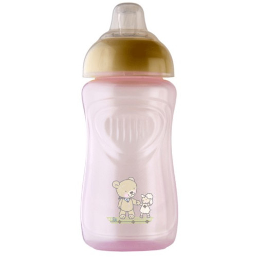 Pahar cu Supapa Silicon 300 ml Tender Rose