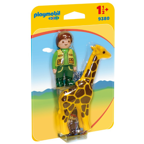 Figurina Ingrijitor Zoo cu Girafa - 1.2.3