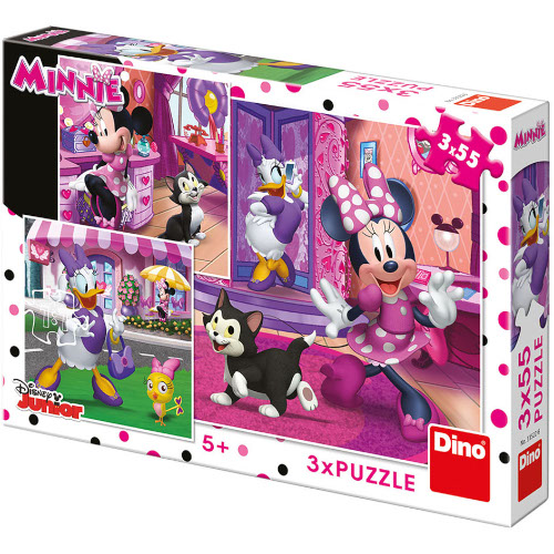 Dino Puzzle O Zi cu Minnie Mouse 3 x 55 Piese