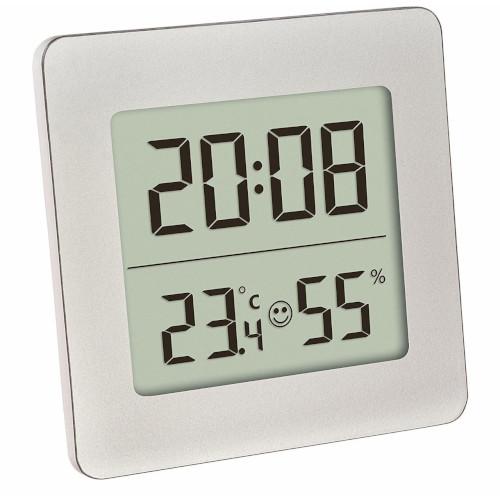 Termometru si Higrometru Digital cu Ceas si Alarma Alb imagine