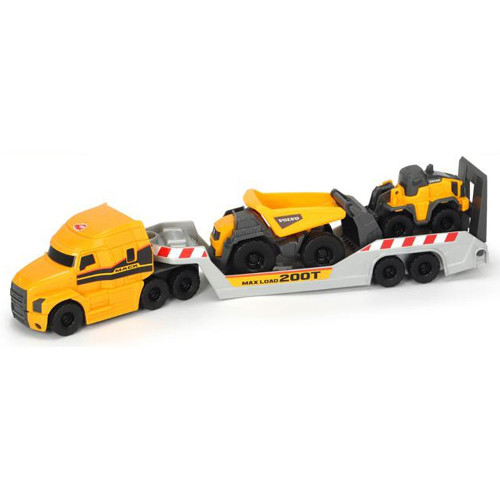Dickie Toys Camion Mack Volvo Micro Builder cu Remorca, Buldozer si Camion Basculant