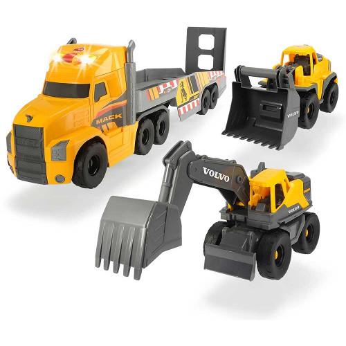 Set Camion Mack Volvo Heavy Loader Truck cu Remorca, Buldozer si Camion Basculant