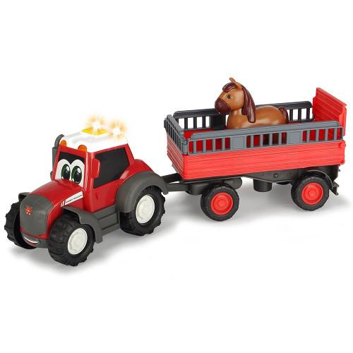 Dickie Toys Tractor Happy Ferguson Animal Trailer cu Remorca si Figurina Cal