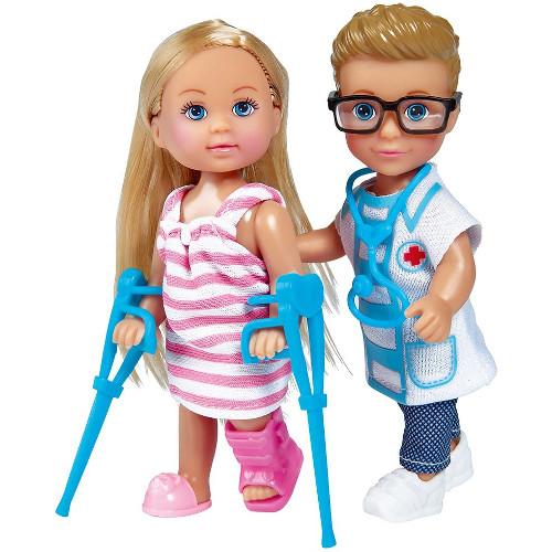 Simba Set Evi Love Doctor Papusa Evi 12 cm si Papusa Timmy 12 cm cu Accesorii