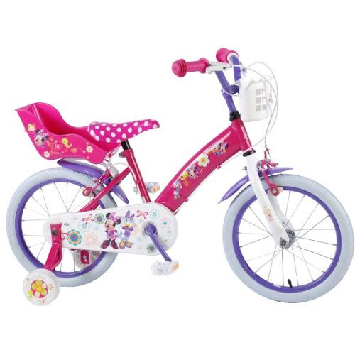 Volare Bicicleta Minnie Mouse 16 Inch cu Roti Ajutatoare si 2 Frane de Mana